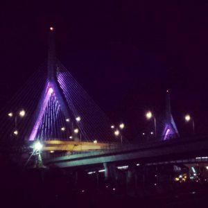 Leonard Zakim bridge goes purple for DV Awareness Month
